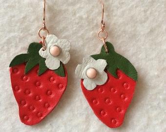 lightweight earrings, leather earrings, fruit earrings, fruit jewelry, kawaii earrings, leather jewelry, dangling earrings, red earrings