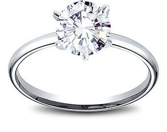 14K Gold 0.47 ct Round Cut Diamond Solitaire Engagement Ring H SI2