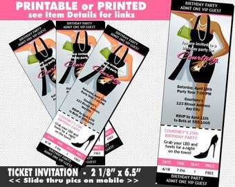 Little Black Dress Ticket Invitation, Printable, Light or Dark Skin, LBD Party Invite, Girls Night Out, Bachelorette