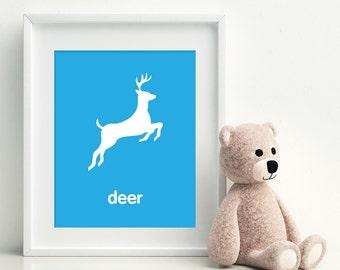 Nursery Art Print - Deer art poster - nursery art - child's room decor