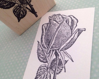 Closed Rose Bloom Rubber Stamp 2279