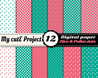 """Grain of rice & polka dots - Turquoise and pink - Instant Download - DIGITAL PAPER - A4 and 12x12"""" - Scrapbooking"""