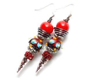 Funky Earrings - Colorful Earrings - Lampwork Earrings - Artisan Earrings - Red Earrings - Dangle Earrings - Bohemian Earrings - Mom gift