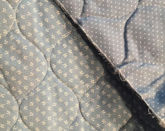 Machine Quilted Cotton Calico Floral Polka Dot Remnant 44 x 27 inch