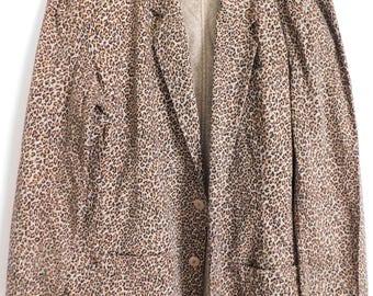 Vintage Leopard Print Jacket, Women's 14, Light & Unlined, Liz Claiborne Brand
