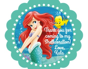 The Little Mermaid Ariel party favor stickers - Ariel Party Favors, La Sirenita, Little Mermaid Birthday stickers, Under the Sea - Set of 24