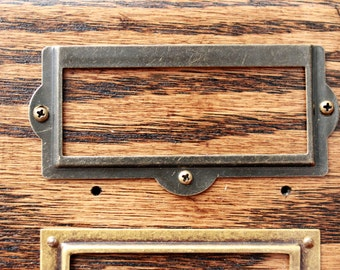 Classic Antique Brass Label Holder - Library Card Catalog Style Cabinets Mid Century Style Hardware Vintage Brass Patina 1309