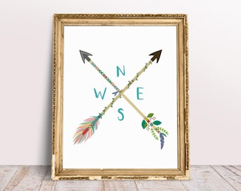 Tribal Arrows Map Compass Printable, Wall Art