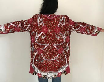 Vtg 80s floral scalloped sequined deco kimono batwing jacket coat