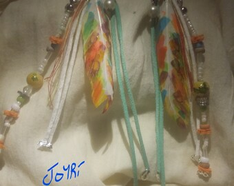 """Earrings """"Cricket"""" with goose feathers, suede and various beads"""