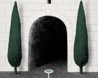 Fountain in the Garden Illustration Print