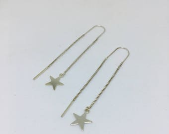 EARRINGS star EARRINGS / 925 sterling silver chains / 925 sterling silver stars