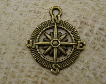 3 metal 30mm bronze compass charms