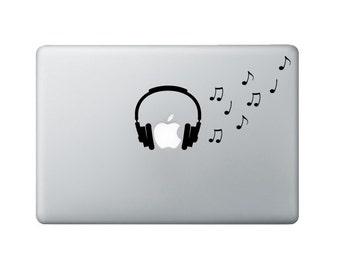 Headphones Macbook Decal - Music Notes Laptop Decal - Music Decal