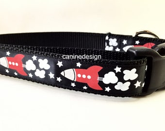 Dog Collar, Rocket Ship, 1 inch wide, adjustable, small, 11-14 inches