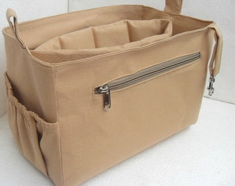 Purse organizer Fits large Longchamp Le Pliage- Bag organizer insert with iPad Case- in Sand fabric