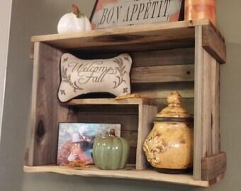 Rustic Crate Shelving - Display - Whitewash, Antique shelving - Display shelves - Wall Storage