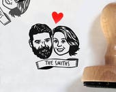 Custom portrait Wedding favors for guests Save the date Personalized gift Unique couples' art / stamp valentine's gift bachelorette marriage