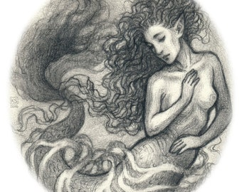 Mermaid original graphite drawing art print 8.5x11 or 11x17 inches