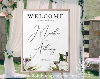 Welcome Sign, Wedding Welcome Sign, rose Wedding Sign, Reception Sign, floral wedding poster, PRINTABLE
