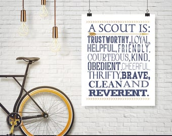 Boy Scout Law Poster - A scout is trustworthy, loyal, helpful, friendly, courteous, kind, obedient, cheerful, thrifty, brave, clean...