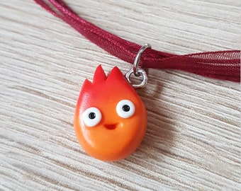 Calcifer Necklace // Polymer Clay // Studio Ghibli // Howl's Moving Castle