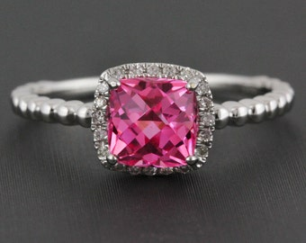 1.67ct Pink Topaz & Diamonds 14K White Gold Solitaire Birthstone Halo Ring - CUSTOM MADE