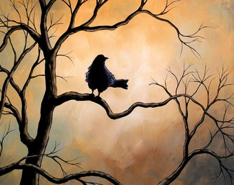 Art Raven bird print ...Raven -- 8 x 10 Glossy Print