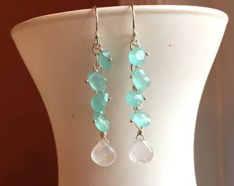 Moonstone and chalcedony Earrings, Oceana Dangle Earrings