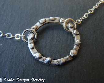 organic eternity circle necklace sterling silver open circle necklace recycled silver