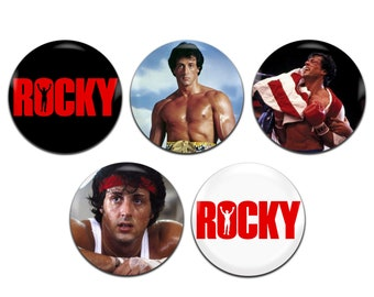 5x Rocky Movie Boxing Rocky Balboa 25mm / 1 Inch D Pin Button Badges