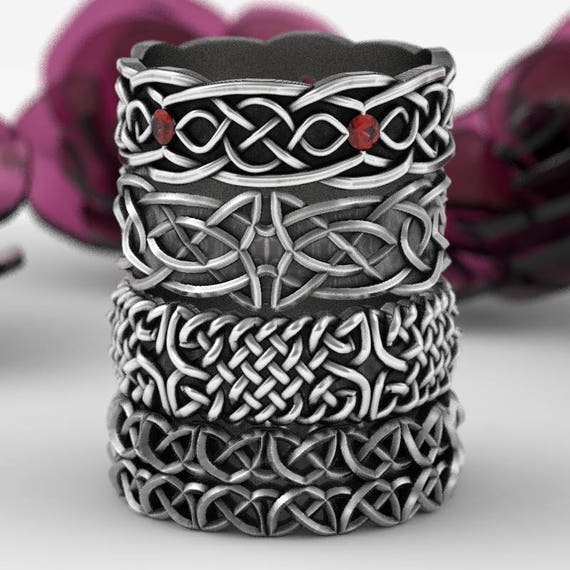RESERVED FOR Rahul 4 Celtic Rings in Sterling Silver, Made in Your Size 1050, 638, 1103 & 1037