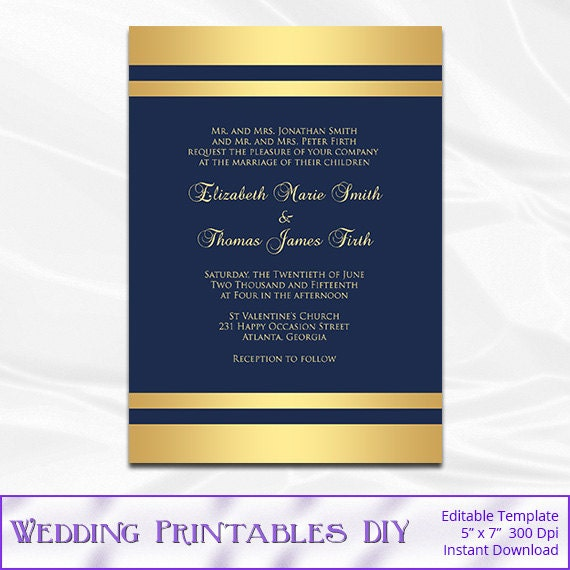 articles similaires à navy gold wedding invitation template diy