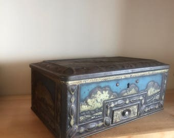 Vintage Geo. Bassett & Co Ltd Sweet Tin With Locking Drawer Beautiful Embossed 1930s Collectable Tins Confectionary
