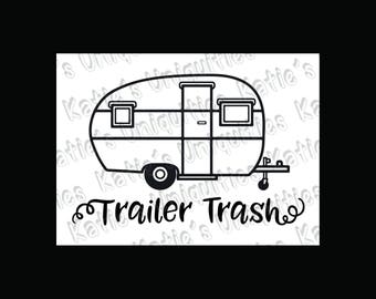 Trailer Trash Rv Camping Camper Garbage Can SVG DXF PNG Digital Cut File For Use With Cutting Machines Cricut Silhouette