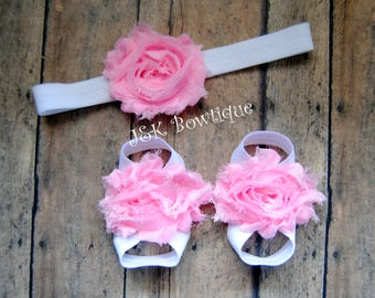 Pink Baby Barefoot Sandals, Pair or sandals and Headband SET, baby headband, baby barefoot sandals, Newborn headband, baby gift set