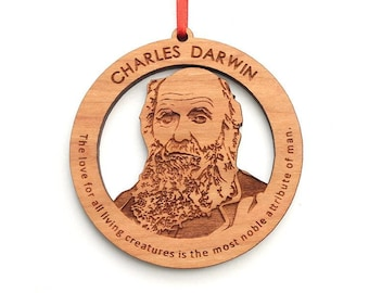 Galileo Galilei Ornament - Famous Face and Science Detailed Face Wood Ornament