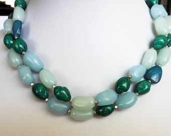 Vintage Lucite Jade Bead  Multistrand Necklace          17 inch     Green
