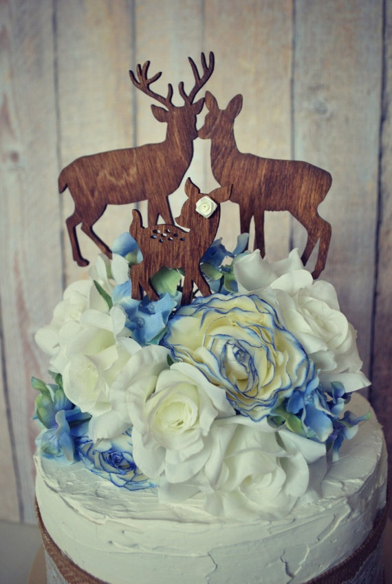 Deer Family Wedding Cake Topper Deer Silhouette Wood Hunting