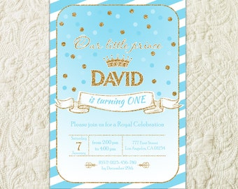 Prince birthday invitation royal blue and gold birthday prince birthday invitation little prince 1st birthday invitation gold glitter blue and gold birthday filmwisefo Choice Image