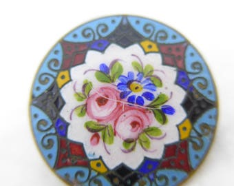 Vintage Edwardian Hand Painted Flower Champleve Enamel Brooch Pin