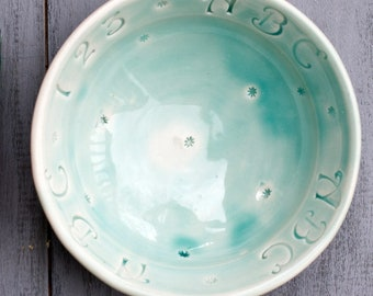 Porcelain Baby Bowl, Ready to Ship, Celadon Bowl, ABC Bowl, Baby gift, Baby Shower Gift, Wheel Thrown Pottery Bowl, Small Bowl, ABC bowl