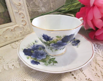 Blue Rose Tea Cup & Saucer
