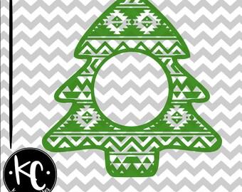 Christmas Tree Monogram, Aztec Christmas Tree, Aztec Christmas, Aztec Christmas Monogram .SVG/.PNG/.EPS File for Every Vinyl Cutting Machine