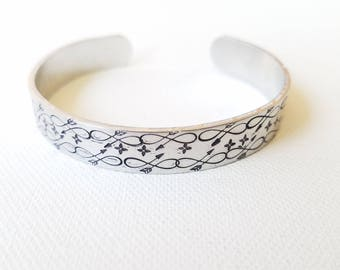 Custom Hand Stamped Mandala Jewelry Cuff Infinity Arrow Bracelet