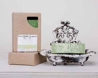 Natural Oatmeal Mint Olive Oil Soap, Oatmeal Mint Soap, Vegan Soap, Unscented Soap, made with organic oils by Green Bubble Gorgeous on etsy