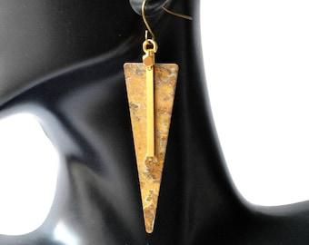 Long Triangle Patina Earrings, Gold Bar earrings, geometric earrings, arrow jewelry, brass earrings, geometric jewelry, arrow earrings