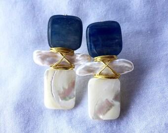 Kyanite + Freshwater Pearl + Mother of Pearl Earrings