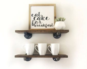 Industrial Shelves - Industrial Shelf - Pipe Shelf - White Floating Shelves - Bathroom Shelf - Kitchen Shelf - Wood Shelf - Open Shelving