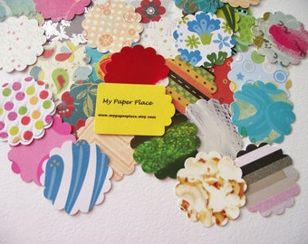 100 - Assorted  1.5  Inch Scalloped  Cardstock Circles/Die Cuts/Punchies/Embellishments - Free Secondary Shipping